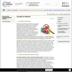 Inpes - Évaluation en santé publique - Concepts et méthodes