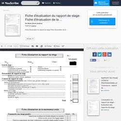 Fiche d'évaluation du rapport de stage Fiche d'évaluation de la ... - Olivier Bruno - Education