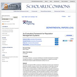 ScholarlyCommons@Penn - Andrew G. West, Sampath Kannan, Insup Le