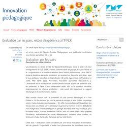 Evaluation par les pairs, retour d'expérience à l'IFPEK