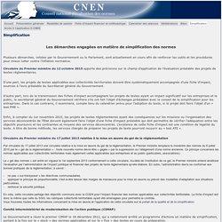 CONSEIL NATIONAL D EVALUATION DES NORMES 16/10/15 Les démarches engagées en matière de simplification des normes