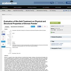 Evaluation of Bio-field Treatment on Physical and Structural Properties of Bronze Powder