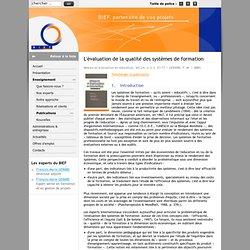 L'évaluation de la qualité des systèmes de formation