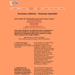 Culture contact - Evaluation de voyageurs 54 : Agence de voyage du tourisme solidaire - La sélection tourisme-solidaire.uniterre.com