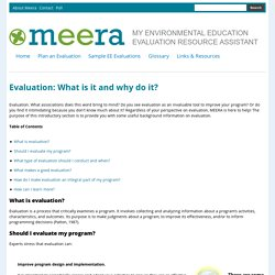 Evaluation: What is it and why do it?