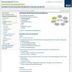 Kriterien für die Evaluation von Websites: Intention, Zielgruppe | UB Bochum