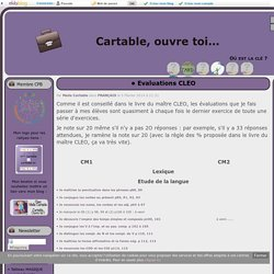 Evaluations CLEO - Cartable, ouvre toi...