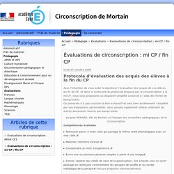 Évaluations de circonscription : mi CP / fin CP - Circonscription de Mortain