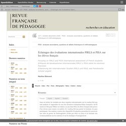 Éclairages des évaluations internationales PIRLS et PISA sur les élèves français