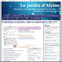 Evaluations en lecture, copie et expression ecrite CE1