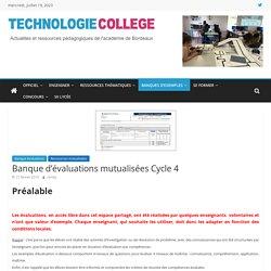 Banque d'évaluations mutualisées Cycle 4 – SII Collège