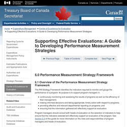 Supporting Effective Evaluations: A Guide to Developing Performance Measurement Strategies 6 / 12