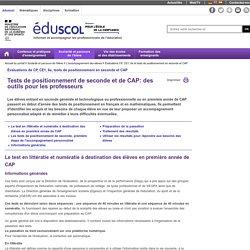 Accompagnement personnalisé au lycée - Tests de positionnement de seconde et CAP