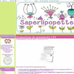 Evaluations de grammaire CE1 - Saperlipopette