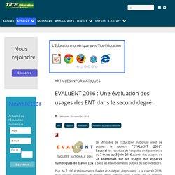 EVALuENT 2016 : Une évaluation des usages des ENT dans le second degré