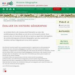 ÉVALUER EN HISTOIRE GÉOGRAPHIE