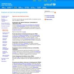 Evaluer et tirer les enseignements - Agences des Nations Unies