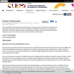 Evaluer l'information- CLEMI