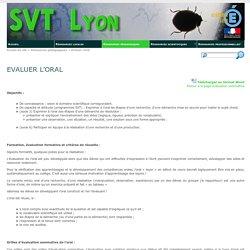 Evaluer l'oral - SVT Lyon