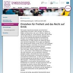 Evangelische Zentralstelle für Weltanschauungsfragen - Nachrichten-Archiv - Einstehen für Freiheit und das Recht auf Kritik