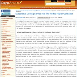 Evaporative Cooling Service Hire The Perfect Repair Contractor