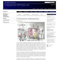 Hervé Regnauld : L'événement anthropocène.