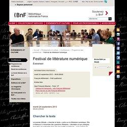 Événement - Festival de littérature numérique
