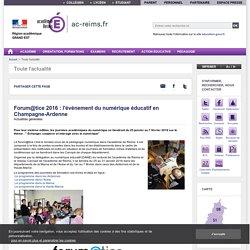Forum@tice 2016 : l'événement du numérique éducatif en Champagne-Ardenne