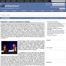 Evénement : L'oral et le numérique en colloque