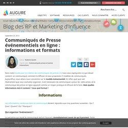 Communiqués de Presse événementiels en ligne : informations et formats