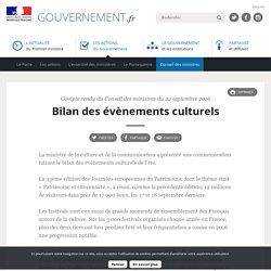 Bilan des évènements culturels - Compte rendu du Conseil des ministres du 22 septembre 2016