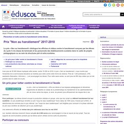 """Événements et concours - Prix """"Non au harcèlement"""" 2015-2016"""