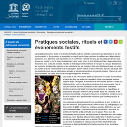 Pratiques sociales, rituels et événements festifs - patrimoine immatériel - Secteur de la culture