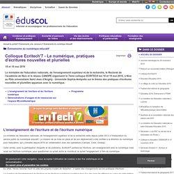 Événements du numérique éducatif - Colloque Ecritech'7 - Le numérique, pratiques d'écritures nouvelles et plurielles