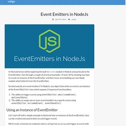 Event Emitters in NodeJs