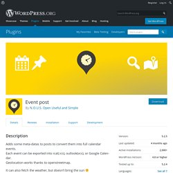 Event post – WordPress plugin