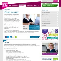 Events manager Job Information