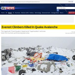 Everest Climbers Killed In Quake Avalanche