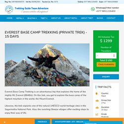 Everest Base Camp Trekking in Nepal - 15 Days Trekking in Nepal