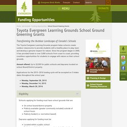 Toyota Evergreen Learning Grounds School Ground Greening Grants