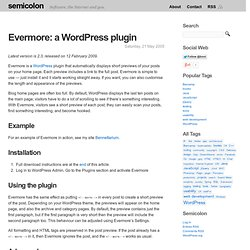 Evermore: a WordPress plugin » Semicolon