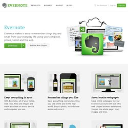 Use Evernote to save and sync notes, web pages, files, images, and more.