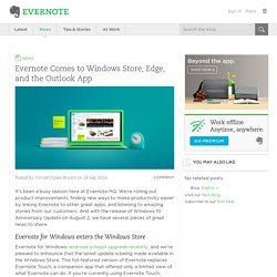 Evernote comes to Windows Store, Edge, and the Outlook app