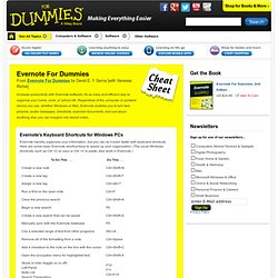 Evernote For Dummies Cheat Sheet