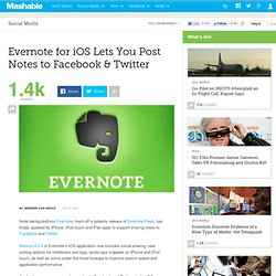 Evernote for iOS Lets You Post Notes to Facebook & Twitter