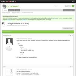 Using Evernote as a diary - Evernote General Discussions