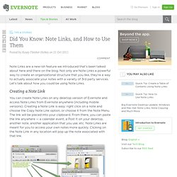 Did You Know: Note Links, and How to Use Them