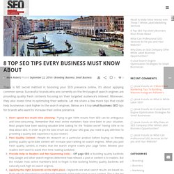 8 Top SEO Tips Every Business Must Know About