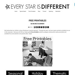 Every Star Is Different: Free Printables