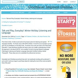 Talk and Play, Everyday!: Sleigh Bells Ring, Are You LISTENING? | Cochlear Implant Online